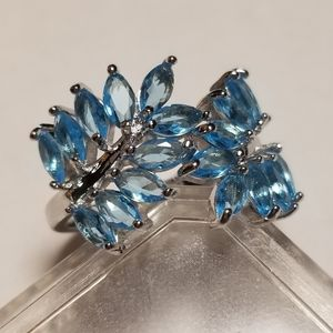 Exqusite 925S Aquamarine Leaf ring